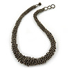 Chunky Metallic Beige Coloured Glass Bead Necklace - 60cm L