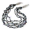Multistrand, Layered Hematite Glass Bead, Shell Nugget Bead Necklace In Silver Tone - 56cm L