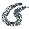 3 Strand Hematite Coloured Glass Bead Oval Link Necklace - 60cm Length