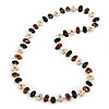 Black, Cream, Brown Bone Bead Necklace - 80cm L