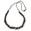 Long Brown Coloured Bone Bead, Black Cotton Cord Necklace - 90cm L