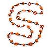 Orange Wood Bead Cotton Cord Long Necklace - 110cm L