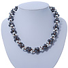 Light Grey & Silver Tone Acrylic Bead Cluster Choker Necklace - 38cm L/ 5cm Ex