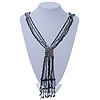 Black, Grey, White Transparent Glass Bead Tassel Necklace - 60cm L/ 15cm L (Tassel)