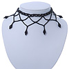 Chic Victorian/ Gothic/ Burlesque Black Bead Choker Necklace - 32cm Length/ 7cm Extension