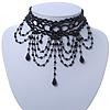 Statement Victorian/ Gothic/ Burlesque Black Acrylic, Glass Bead Choker Necklace - 26cm L/ 8cm Ext