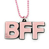 Light Pink Crystal, Acrylic 'BFF' Pendant With Beaded Chain - 44cm L