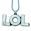 Pale Blue Crystal, Acrylic 'LOL' Pendant With Beaded Chain - 44cm L