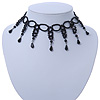Fancy Dress Party Black Acrylic, Glass Bead Choker Necklace - 30cm L/ 7cm Ext