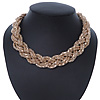 Gold Tone Plaited Mesh Choker Necklace - 38cm Length/ 4cm Extension