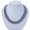 Grey Imitation Pearl & Glass Bead Collar Necklace In Silver Tone - 44cm L/ 4cm Ext