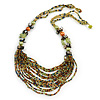 Light Green/ Orange/ Grey Glass Bead Bib Style Necklace - 70cm L