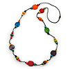 Long Multicoloured Wood, Plastic Bead Cotton Cord Necklace - 100cm L