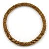 Statement Chunky Golden Bronze Beaded Stretch Choker Necklace - 44cm L