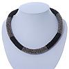 Statement Chunky Grey, Black Beaded Stretch Choker Necklace - 44cm L