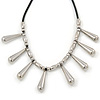 Silver Tone Teardrop Bead, Black Rubber Cord Necklace - 47cm L/ 4cm Ext