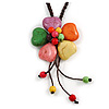 Multicoloured Ceramic Flower Pendant With Long Brown Cotton Cord - 60cm L