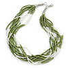 Multistrand White/ Green Glass Bead Necklace - 49cm L