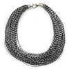 Multistrand Metallic Silver/ Black Silk Cord Necklace In Silver Tone - 40cm L