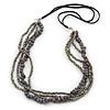 Multistrand Grey/ Metallic Silver Glass Bead, Semiprecious Stone Black Suede Cord Necklace - 74cm L