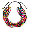 Multistrand Multicoloured Wood Bead, Black Adjustable Cord Necklace - 46cm to 58cm L