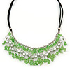 Light Green Glass Bead Bib Necklace With Black Faux Suede Cords - 46cm L