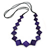 Long Deep Purple Bone Square Bead Black Cotton Cord Necklace - 82cm L
