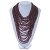 Chunky Plum Coloured Glass Bead Bib Necklace - 70cm L