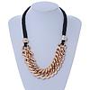 Mirrored Gold Tone Acrylic Link Black Silk Cord Necklace - 50cm L