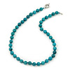 10mm Turquoise Bead Necklace With Spring Ring Closure - 47cm L