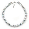12mm Light Grey Ringed Freshwater Pearl Necklace In Silver Tone - 40cm L/ 4cm Ext