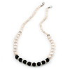 5mm - 10mm Cream Freshwater Pearl, Black Agate Stone and Crystal Rings Necklace - 45cm L