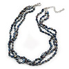 7mm Black/ Grey Rice Freshwater Pearl, 3 Strand Twisted Necklace - 41cm L/ 5cm Ext