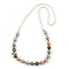 Multicoloured Shell Pearls with Crystal Glass Beads Long Necklace - 80cm L