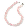 14mm Rose Quartz Round Semi-Precious Stone Necklace With Spring Ring Closure - 46cm L