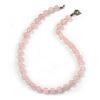 10mm Rose Quartz Round Semi-Precious Stone Necklace With Spring Ring Closure - 47cm L
