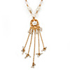 Vintage Inspired Shell Floral With Charms Pendant with Gold Tone Pearl Bead Chain - 42cm L/ 5cm Ext