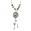 Light Green Enamel, Crystal Flower Pendant With Silver Tone Beaded Chain - 38cm L/ 6cm Ext