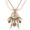 Vintage Inspired Enamel Crystal Floral Pendant With Gold Tone Chain and Pink Suede Cord - 38cm L/ 8cm Ext