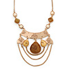 Vintage Inspired Acrylic Teardrop Bead, Chain Bib Necklace In Gold Tone - 36cm L/ 6cm Ext