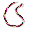 Gold/ Black/ Fuchsia Twisted Mesh Necklace - 38cm L/ 4cm Ext