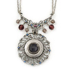 Vintage Inspired Round Filigree Crystal Pendant with Double Chain In Pewter Tone - 40cm L/ 5cm Ext