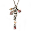 Vintage Inspired Bird, Flower & Freshwater Pearl Pendant With Chain Necklace In Pewter Tone - 46cm L/ 7cm Ext