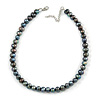 10mm Grey Potato Freshwater Pearl Necklace In Silver Tone - 41cm L/ 6cm Ext