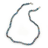5-6mm Grey Off Round Freshwater Pearl Necklace In Silver Tone - 45cm L