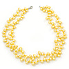 10mm Bright Yellow, Pear Shape Freshwater Pearl 2 Strand Necklace - 43cm L