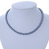 7mm Grey Acrylic Bead Necklace In Silver Tone - 37cm L
