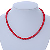 7mm Bright Red Acrylic Bead Necklace In Silver Tone - 37cm L