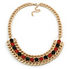 Chunky Gold Link Chain Bib Necklace with Pink/ Black Acrylic Stones - 44cm L/ 7cm Ext