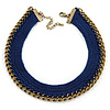 Dark Blue Cotton Collar Necklace with Antique Gold Chain - 35cm L/ 8cm Ext